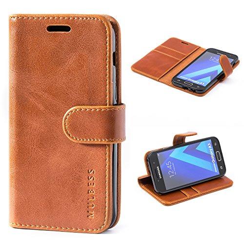 Mulbess Handyhülle für Samsung Galaxy A3 2017 Hülle, Leder Flip Case Schutzhülle für Samsung Galaxy A3 2017 Tasche, Cognac Braun