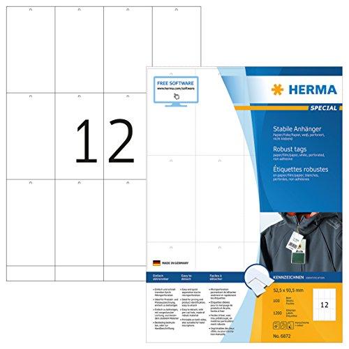 HERMA 6872 Stabile Anhänger DIN A4 (52,5 x 93,5 mm, 100 Blatt, Papier/Folie/Papier-Verbund) perforiert, bedruckbar, nicht klebende Preisanhänger, 1.200 Produktanhänger, weiß