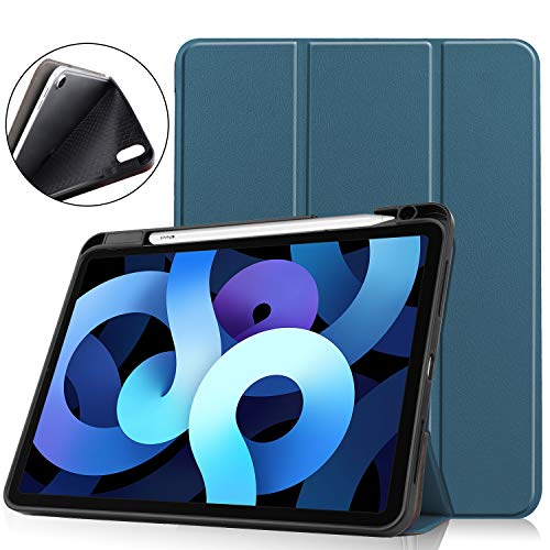 New iPad Air 4 10.9 2020 Case with Pencil Holder,UZER Ultra Slim Lightweight PU Leather Auto Sleep/Wake Smart Case Protective Folio Folding Trifold Stand with Soft TPU Back Cover for iPad Air 4 2020