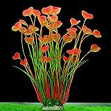 min MINERLELE Künstliche Aquarium-Pflanzen, 39,9 cm hoch, Kunststoff, für Aquarien, Dekoration, große Pflanze, sicher für alle Fische, 18 cm breit (Pink)