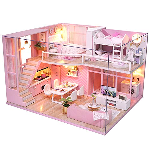 Fsolis Casa de Muñecas en Miniatura de Bricolaje con Mueble, Casa en Miniatura de Madera 3D con Cubierta Antipolvo y Movimiento Musical, Kit de Regalo Creativo de Casas para Muñecas-Dream Angels