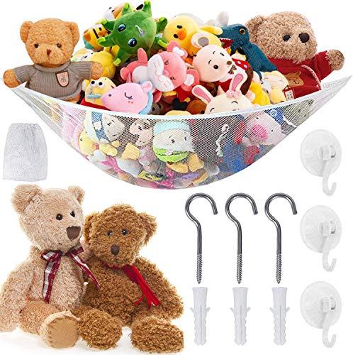 Qune Large Toy Hammock, Mesh Hammock for Stuffed Animals Toy, Flexible Cuddly Toy Storage Net Organiser for Bedroom Bathroom (83.8' x 59' x 59', White)