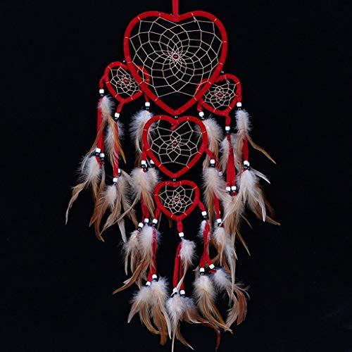 VGFDE Estilo Gran Dream Catcher Colgando Cinco Amor Heart Anillos Pluma Colgante Coche Rojo Decoración navideña (Color : B)
