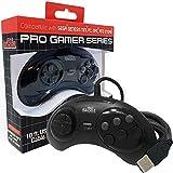 Old Skool USB Controller 6-Button Arcade Pad Compatible with Sega Genesis Mini, PS3, PC, Mac, Steam, Nintendo Switch - USB Port (Black)