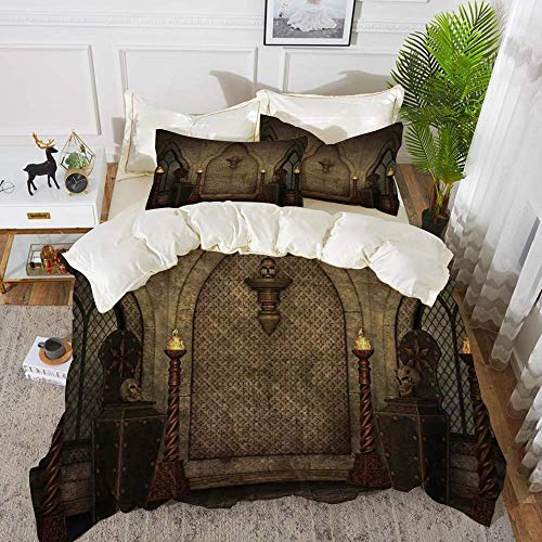Gothic,Fantasy Scene with Old Fashioned Wooden Torch and Skull Candlesticks in Dark Spo,Hypoallergenic Microfibre Duvet Cover Set 200 x 200cm with 2 Pillowcase 50 X 80cm