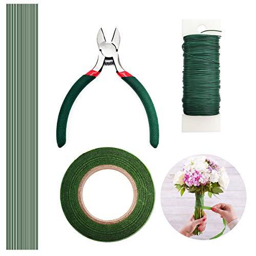YLX Herramienta Florales, 4 Pz Herramientas Arreglo Floral Kit, Stem Tape, Estilo Alambre, Cortador de Alambre y Tijeras (Verde)