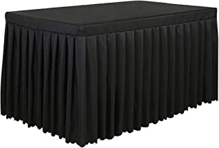 Tina 8' ft Polyester Fitted Tablecloth Table Skirt for Wedding Banquet Trade Show Black