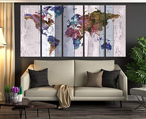Extra Large Wall Art Push Pin World Map Canvas Print, Atlas World Travel Map Watercolor Wall Decal For Bedroom, Framed World Map Wall Decor 711