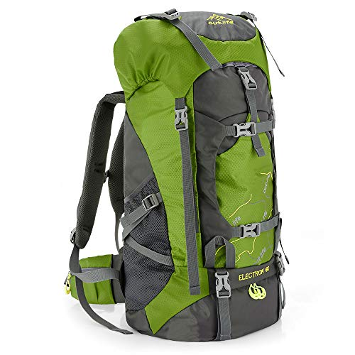 Hiking Backpack 60L Lightweight Water Reasistant Trekking Bag Durable Outdoor Sport Daypack for Climbing Travel Cycling (Green)