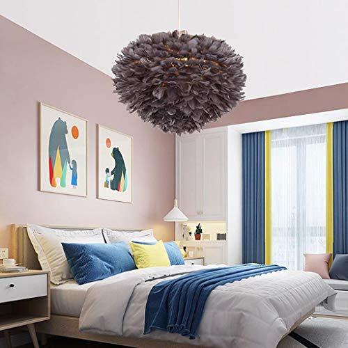 Lamparas techo colgantes Pluma de la lámpara, lámpara pendiente de la luz de techo de sombra romántica Droplight Pantalla con Atenuación 12W E27 for Sala Comedor Dormitorio (Color : Gray)