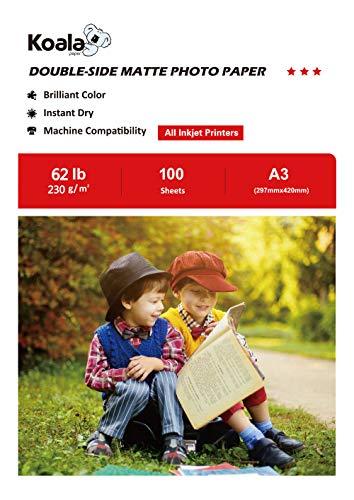 KOALA Papel fotográfico de doble cara mate para inyección de tinta A3, 297x420 mm, 100 hojas, 230 g/m²
