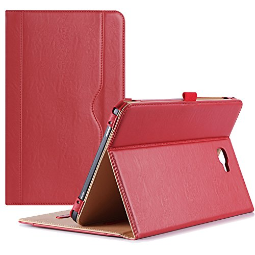 ProCase Galaxy Tab A 10.1 Case 2016 Old Model, Stand Folio Case Cover for Galaxy Tab A 10.1 Tablet SM-T580 T585 T587 (NO S Pen Version) with Multiple Viewing Angles, Card Pocket -Red