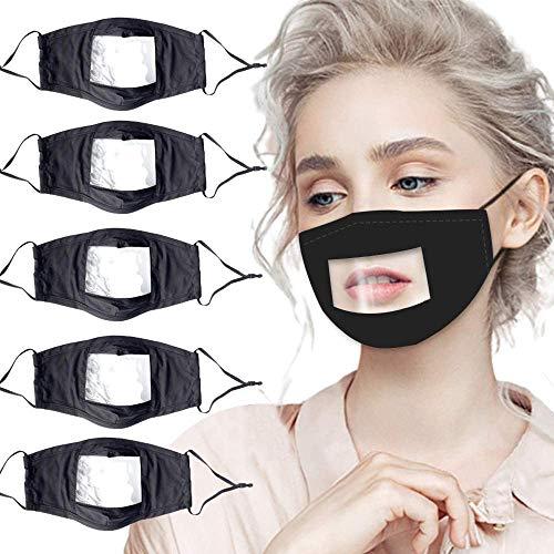 5Stück Transparent Mundschutz Maske Schutzmaske Multifunktionstuch Mund und Nasenschutz Atmungsaktiv Staubschutzmaske Wiederverwendbar Mundschutz Winddicht Halstuch Mit Transparenten Fenstern