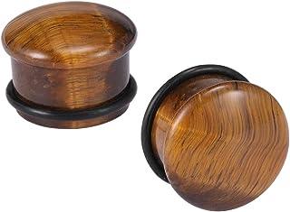 ZeSen Jewelry Tiger Eye Pietra Naturale 2 Orecchio delle Spine Singolo Orecchio del Chiarore Calibri Expander con O-Anello...