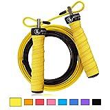 5BILLION Springseil Speed Rope - Verbiegen - Einstellbar - Workout für Double Unders, Fitness, WOD, Draussen, MMA & Boxen Ausbildung (Gelb)