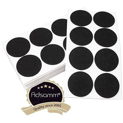 Adsamm | 80 x almohadillas de fieltro | Ø 60 mm | negro | redondo | Protectores de suelo para patas de mueble | auto-adhesivos | con grosor de 3,5 mm de la máxima calidad