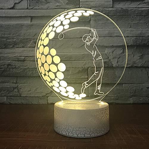 Luz De Noche De Golf Led 3D, Color Variable De 7 Colores, Interruptor Táctil, Luz De Decoración De Mesa De Dormitorio
