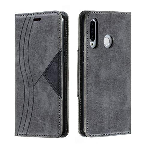 Huphant Compatible for Handyhülle Huawei P30 Lite Hülle Leder Geschäft Einfarbig Brieftasche Klapphülle Kartenfächer Flip Hülle for Huawei P30 Lite SchutzHülle Magnet-Grau