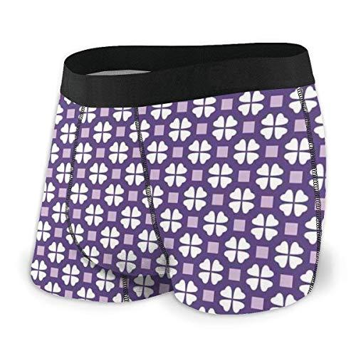 Web--ster Herren Boxershorts, vierblättriges Kleeblatt und Violette quadratische Figuren auf lila Hintergrundgröße L.