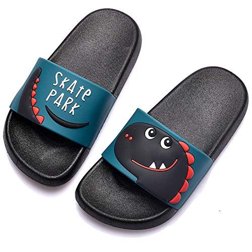 Jungen Mädchen Badelatschen Pantoletten Sommer Hausschuhe Dusch-& Badeschuhe rutschfeste Flache Strand Sandalen Schuhe für Herren Damen Schwarz 32/33 EU