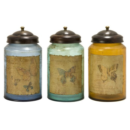 - IMAX Worldly Butterfly Glass Canisters, Set of 3