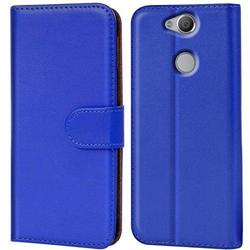 Verco Xperia XA2 Hülle, Handyhülle für Sony Xperia XA2 Tasche PU Leder Flip Hülle Brieftasche - Blau