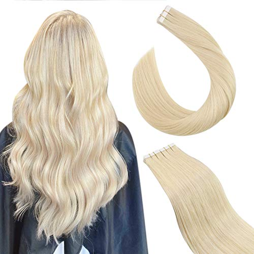 Ugeat 55cm Remy Echthaar Tape Extensions Secret Hair Extension Band #60 Platinblond Tape Extensions Klebeband 2.5GR/PC 50Gramm/Pack Haarverlangerung Tape in Skin Weft Hair Extensions