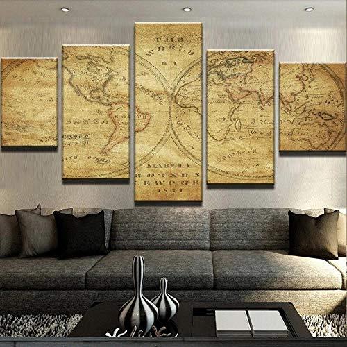 GMSM Parete Modulare Art Immagini Senza Cornice HD di Poster su Tela 5 Pezzi Mappa Rustica del Vecchio Mondo Soggiorno Regalo Decorazioni,150x80cm
