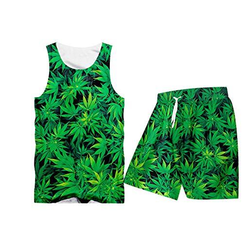 Casual Street Sweatshirt und Hosen Feuille Grün Hanfblatt Weed 3D Crewneck Hoodie Pullover TTSH01824 L