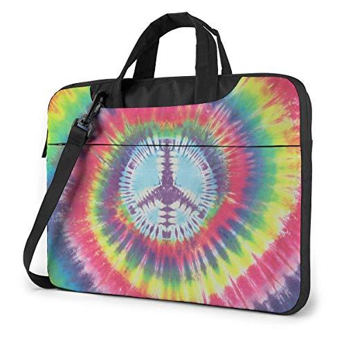 Bolsa para portátil No War Peace Sign Tie Dye Bolsa de Mensajero para el Hombro, Funda de Transporte para portátil con cinturón de Carro de 15.6 Inch