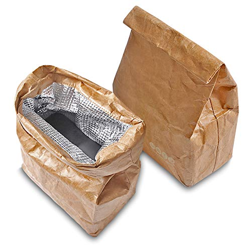 lunch sacks LELE LIFE 2 Pack Insulated Brown Paper Lunch Bags, Reusable and Lightweight Retro Lunch Sacks, Durable and Eco-Friendly Snack Bags for Work Picnic School