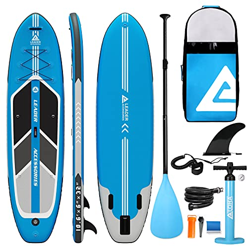 Leader Accessories Arrow 10 6  Blue Inflatable Stand Up Paddle Board with Fins (6  Thick) Includes Adjustable Paddle,Kayak Leash,ISUP Backpack,Pump with Gauge