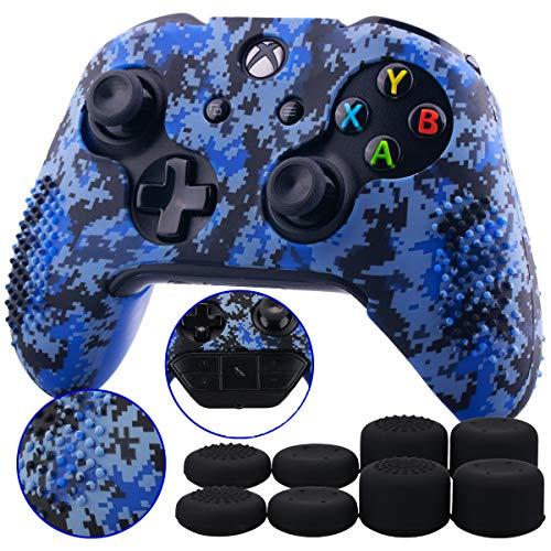 9CDeer 1 Pieza de Camuflaje Digital Silicona Cubrir Piel Case Skin Cover + 8 Thumb Grips para Mando Xbox One/S/X Camuflaje Azul Compatible con el Adaptador de Auriculares Estéreo Oficial