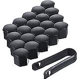 Bememo 20 Stücke Rad Mutter Cap Universal Reifen Mutter Covers mit Entfernung Werkzeug für Autos, Schwarz (19 mm)