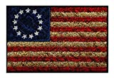 Betsy Ross Distressed USA American Flag Patch (Iron on Sew on -3.0 X 2.0 -BD4)