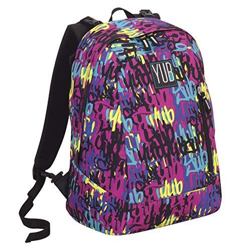 Yub Reversibler Rucksack Graffiti, Rosa, 26 Lt, 2in1 Muster + Einfarbig, Schule & Freizeit