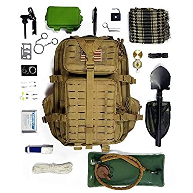 Gearrific 40L Tactical Backpack Bundle with Emergency Survival Kit, Camping Shovel, Glow in The Dark Paracord and Military Shemagh Scarf (Deluxe 33pc Tactical Backpack Survival Bundle (Tan))