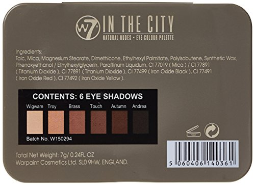 W7 Natural Nudes Eye Colour Palette 7 g, In The City - 6-Piece