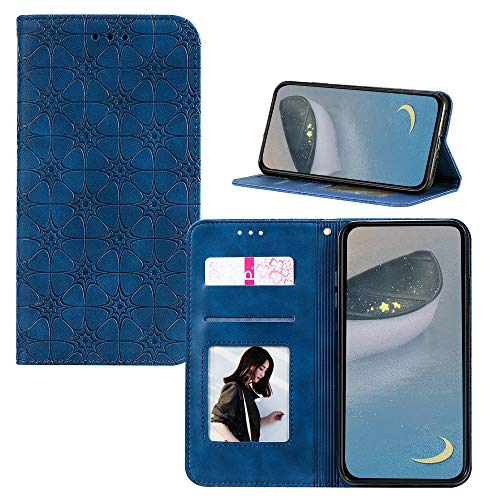 JZ [Embossed Lucky Flower Solid Color Wallet Flip Cover For para iPhone 6S Plus / 6 Plus Funda - Blue