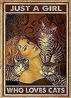 2個 猫を愛する女の子ブリキサインメタルプレート装飾サイン家の装飾プラークサイン地下鉄メタルプレート8x12inch メタルプレート レトロ アメリカン ブリキ 看板