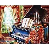 5D DIY diamante pintura paisaje Piano juego de bordado de diamantes imagen de mosaico Mural Retro pintura hecha a mano para el hogar A3 30x40cm