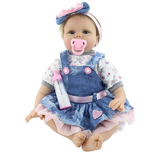 MAIHAO Reborn Babypuppe Realistische Puppe Reborn Babys Lebensecht Puppen Mädchen Silikon Blau Outfit 55 cm