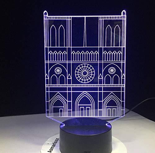 Edificio de la iglesia de la catedral modelado colorido 3D decoración del hogar lámpara de mesa de visión lámpara de luz LED Usb luz de noche creativa