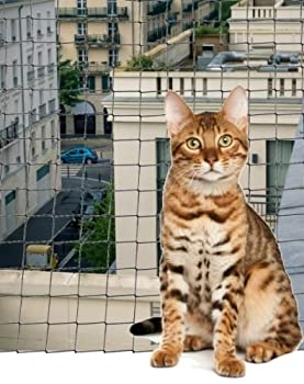 Filet DE Protection Balcon pour Chat 6 X 3 M-Maille RENFORCÉE Anti MORSURES