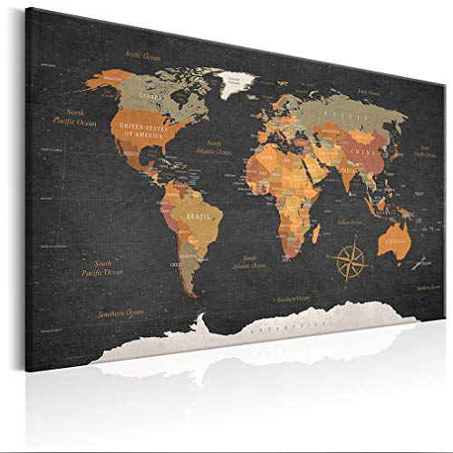 decomonkey   Weltkarte Pinnwand 120x80 cm Leinwand   Bilder Leinwandbilder Fertig aufgespannt auf Dicker 10mm Holzfasertafel Aufhängfertig Auch als Korktafel nutzbar XXL Format PWC0034b1XL