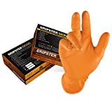 Guantes desechables de nitrilo extra resistentes Gripster Skins – Paquete de 50 / 25 pares – EPI Cat 3 guantes sin polvo por Gocableties, nitrilo., Naranja, Small / Size 7