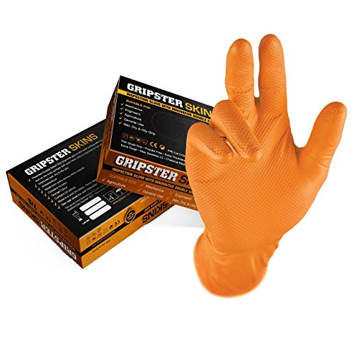 Gripster Skins Nitril-Einweghandschuhe, extra robust, 50 Packungen / 25 Paar, PPE Cat 3, Auto-Commercial, Nitril, Orange, Medium / Size 8