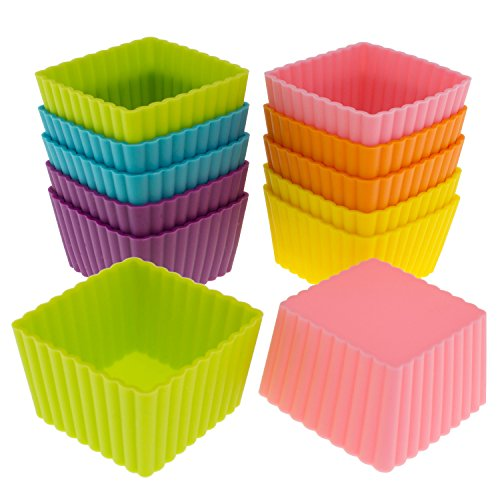 Freshware Silicone Baking Cups [12-Pack] Reusable Cupcake Liners Non-Stick Muffin Cups Cake Molds Cupcake Holder in 6 Rainbow Colors, Mini Square