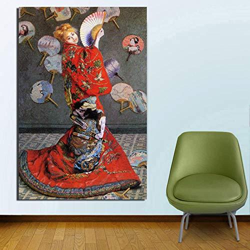 YB Claude Monet Japans fotobehang, canvas, bedrukt, woonkamer, decoratie voor thuis, moderne wand, kunst, olieverfschilderij, 50 cm x 75 cm, zonder lijst