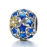 NINAQUEEN Charm für Pandora Charms Armband Blaue Sterne Geschenk für Frauen Silber 925 Zirkonia Schmuck Damen mit Schmuckkasten